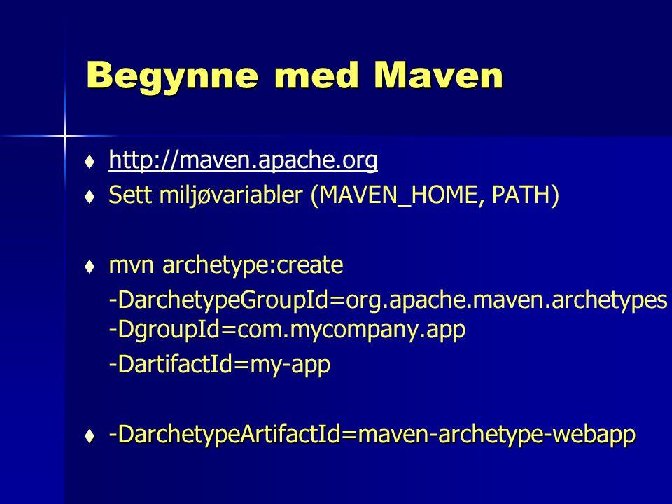 Begynne med Maven http://maven.apache.org