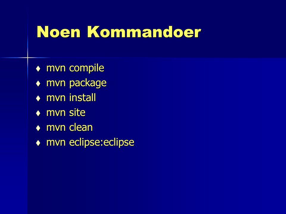 Noen Kommandoer mvn compile mvn package mvn install mvn site mvn clean