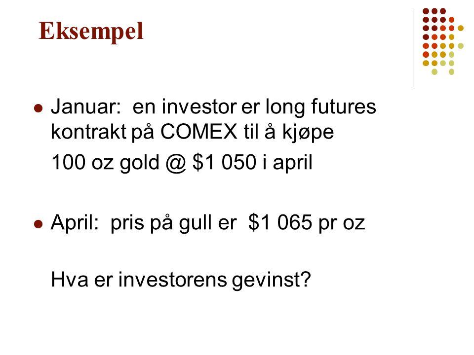 Eksempel Januar: en investor er long futures kontrakt på COMEX til å kjøpe. 100 oz gold @ $1 050 i april.