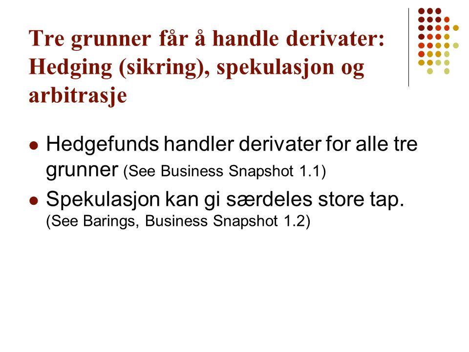 Tre grunner får å handle derivater: Hedging (sikring), spekulasjon og arbitrasje