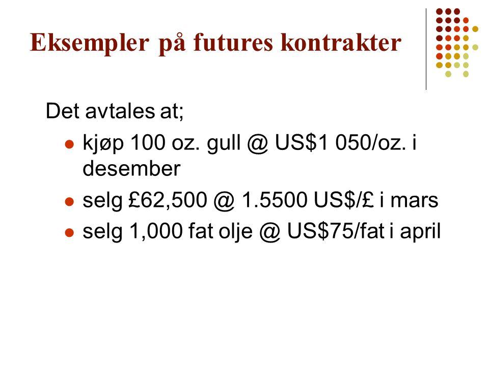 Eksempler på futures kontrakter