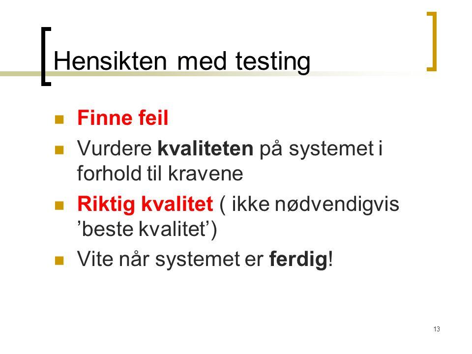 Hensikten med testing Finne feil