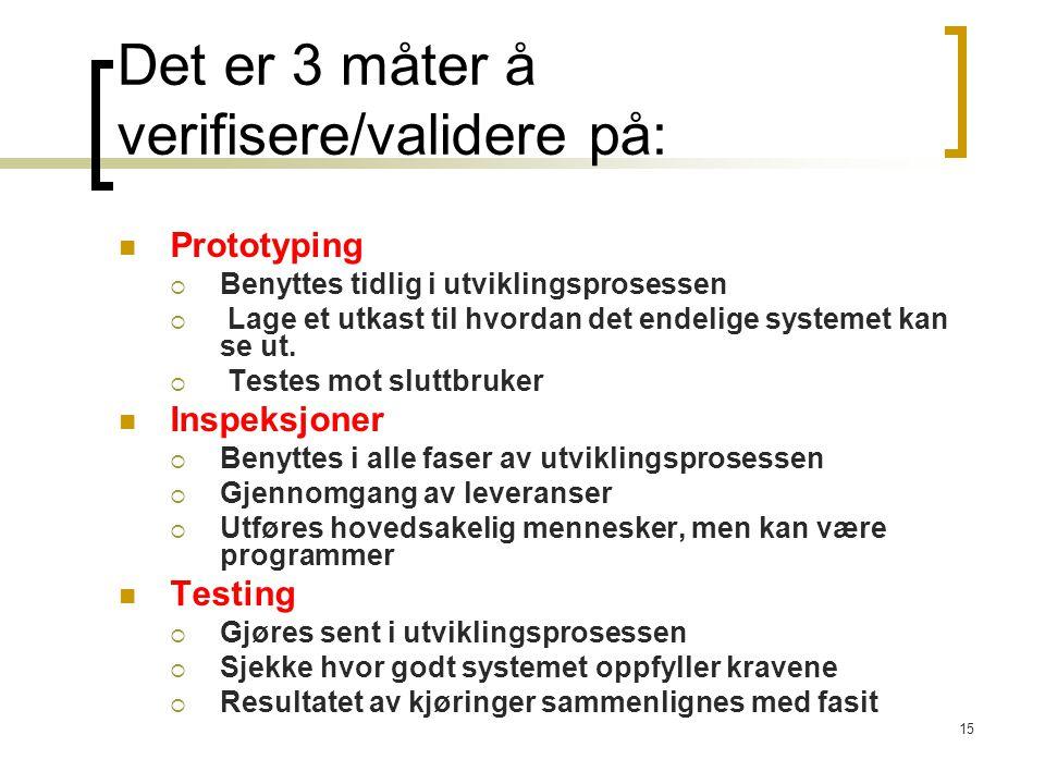 Det er 3 måter å verifisere/validere på: