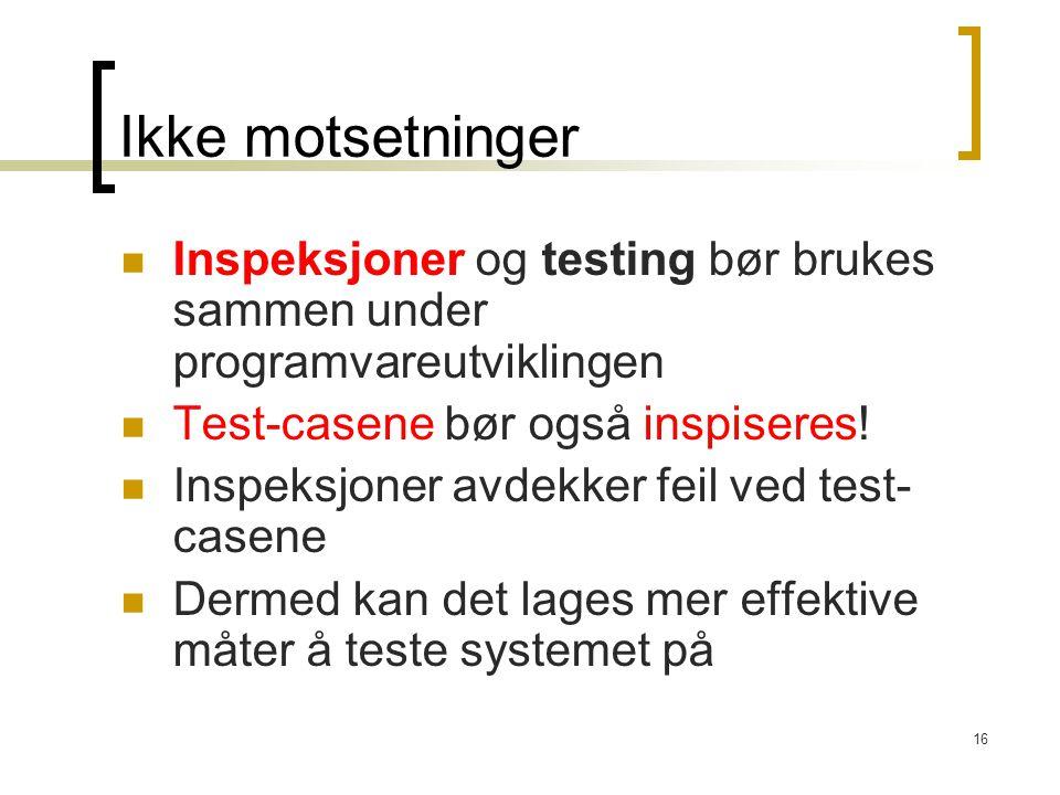 Ikke motsetninger Inspeksjoner og testing bør brukes sammen under programvareutviklingen. Test-casene bør også inspiseres!