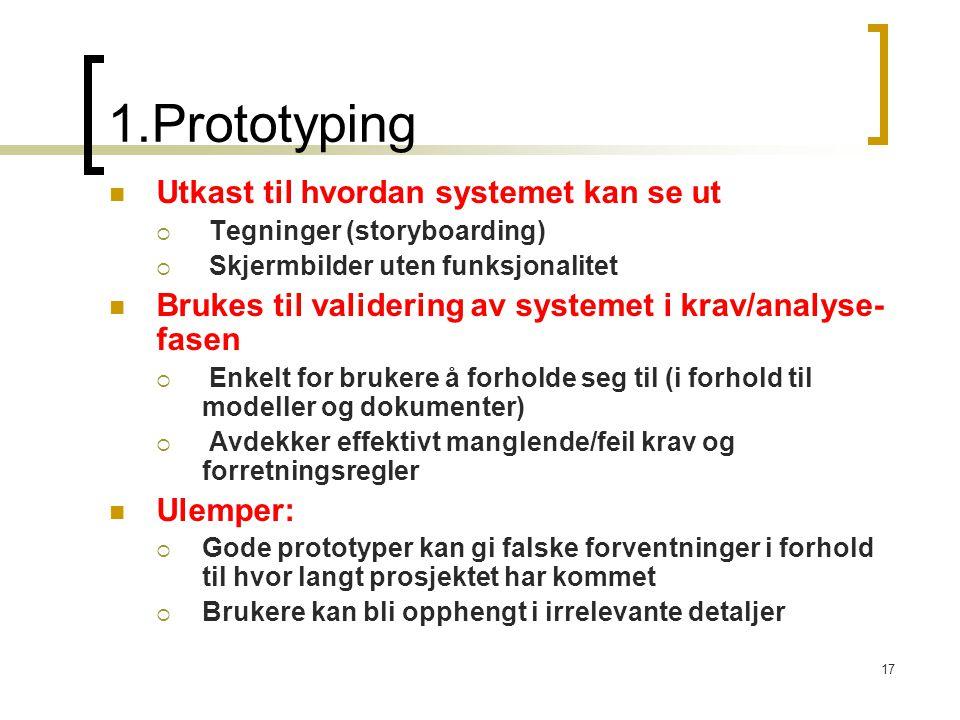 1.Prototyping Utkast til hvordan systemet kan se ut