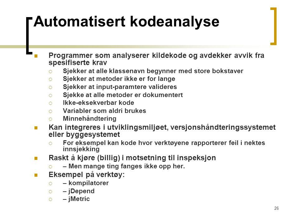 Automatisert kodeanalyse