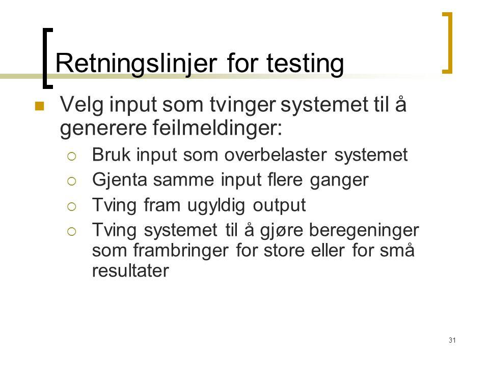 Retningslinjer for testing