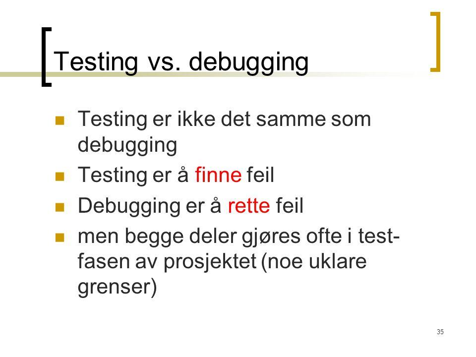Testing vs. debugging Testing er ikke det samme som debugging