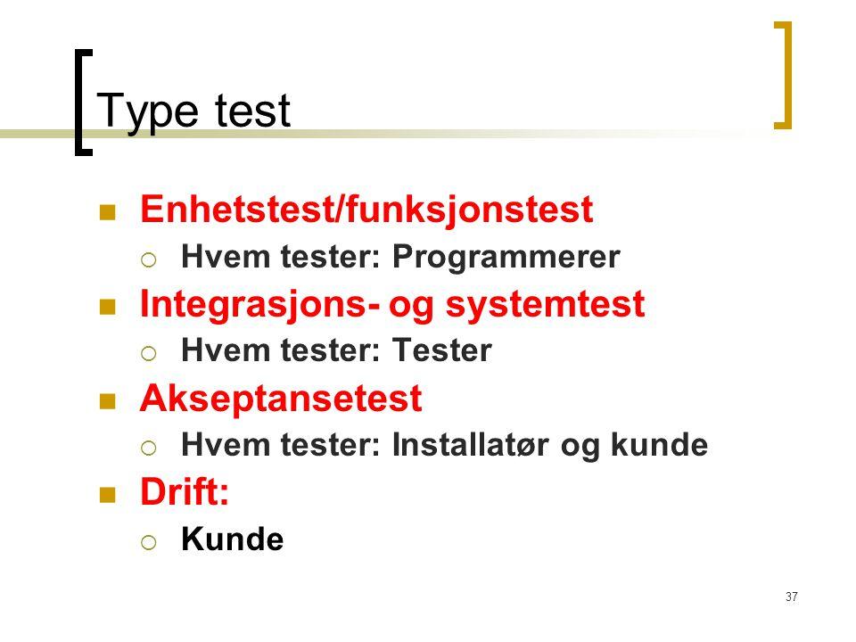 Type test Enhetstest/funksjonstest Integrasjons- og systemtest