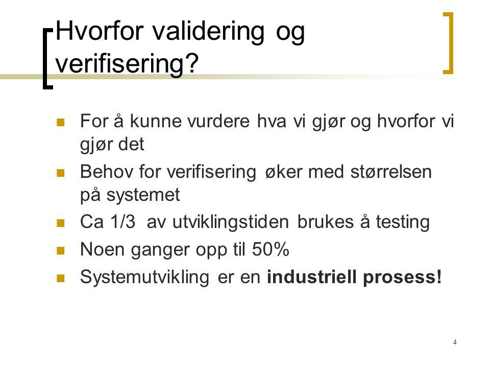 Hvorfor validering og verifisering