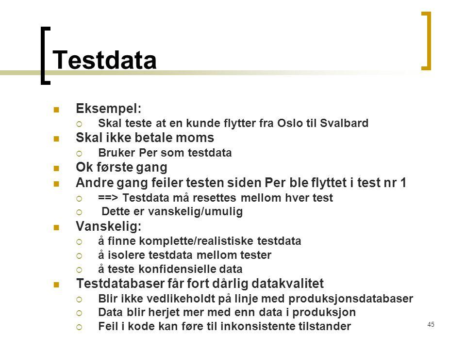 Testdata Eksempel: Skal ikke betale moms Ok første gang