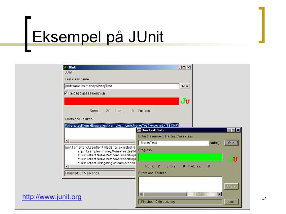 Eksempel på JUnit