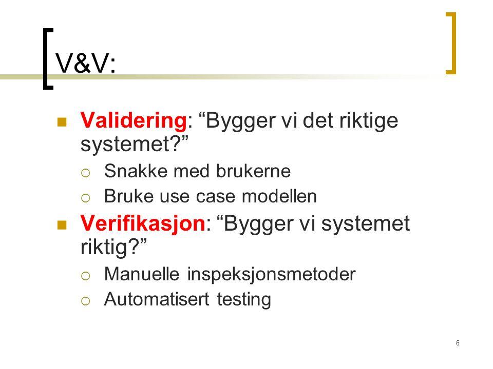 V&V: Validering: Bygger vi det riktige systemet