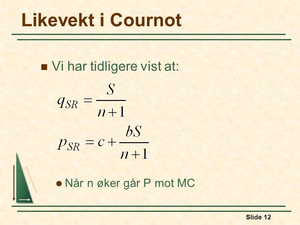 Likevekt i Cournot Vi har tidligere vist at: Når n øker går P mot MC