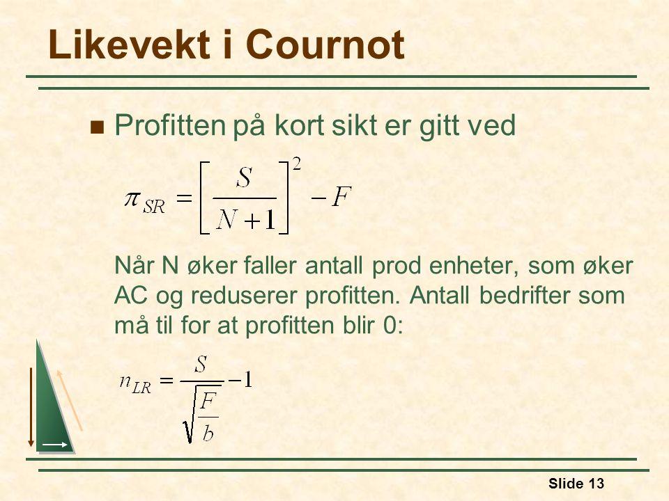Likevekt i Cournot