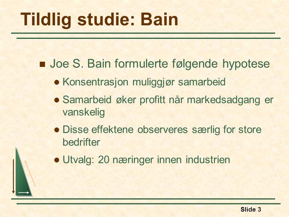 Tildlig studie: Bain Joe S. Bain formulerte følgende hypotese
