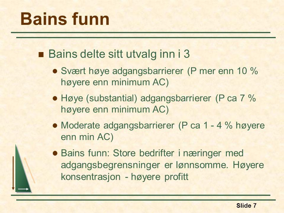 Bains funn Bains delte sitt utvalg inn i 3