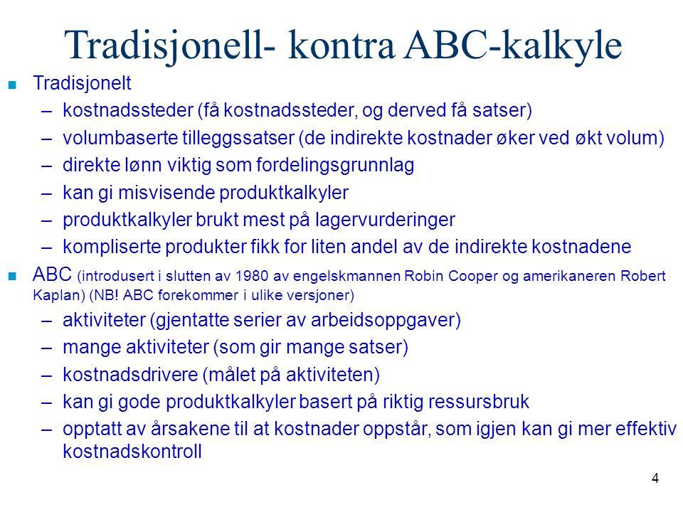 Tradisjonell- kontra ABC-kalkyle