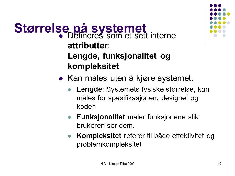 Størrelse på systemet Defineres som et sett interne attributter: Lengde, funksjonalitet og kompleksitet.