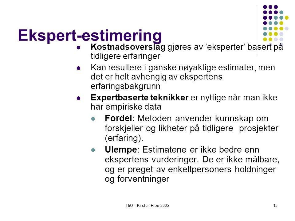Ekspert-estimering Kostnadsoverslag gjøres av 'eksperter' basert på tidligere erfaringer.