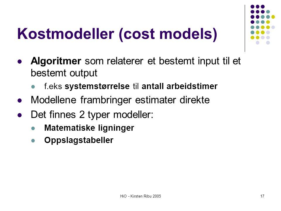 Kostmodeller (cost models)
