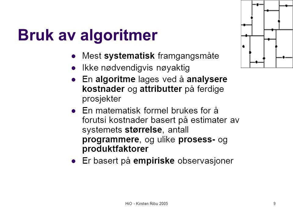 Bruk av algoritmer Mest systematisk framgangsmåte