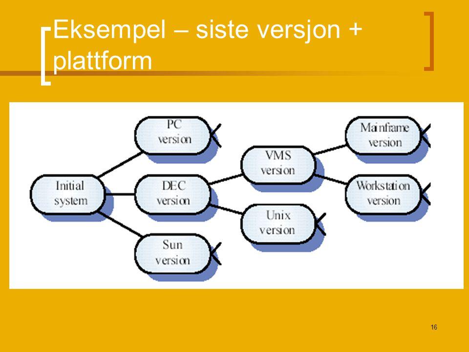 Eksempel – siste versjon + plattform