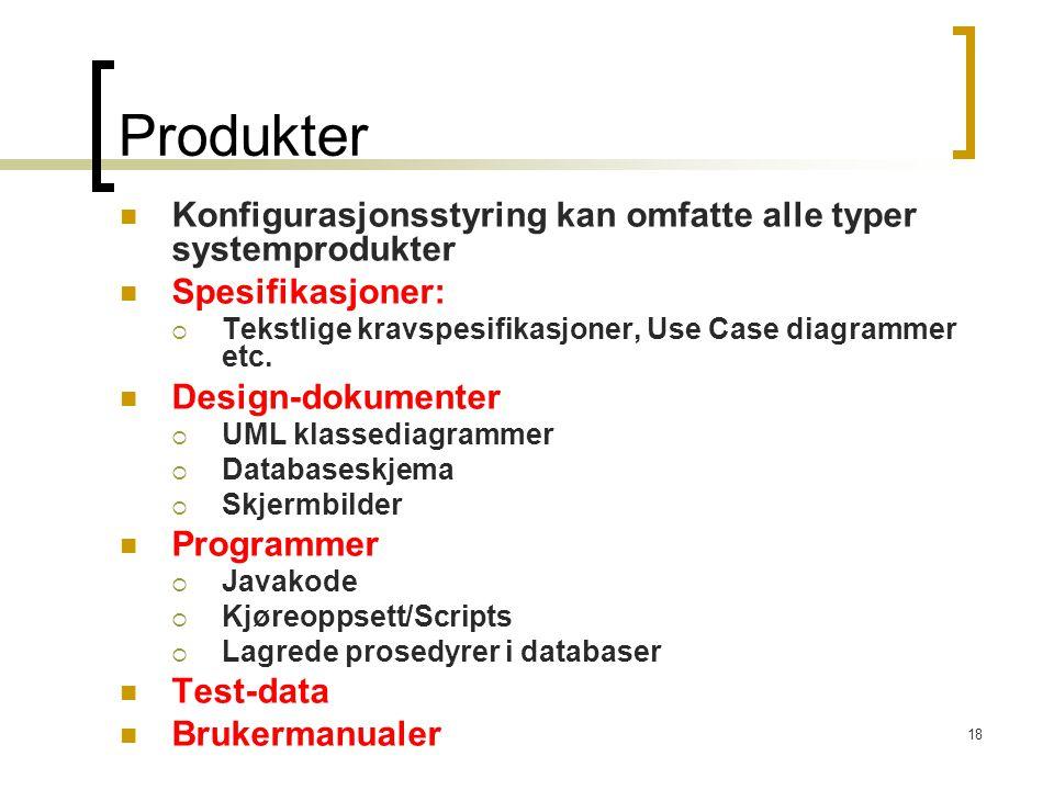 Produkter Konfigurasjonsstyring kan omfatte alle typer systemprodukter