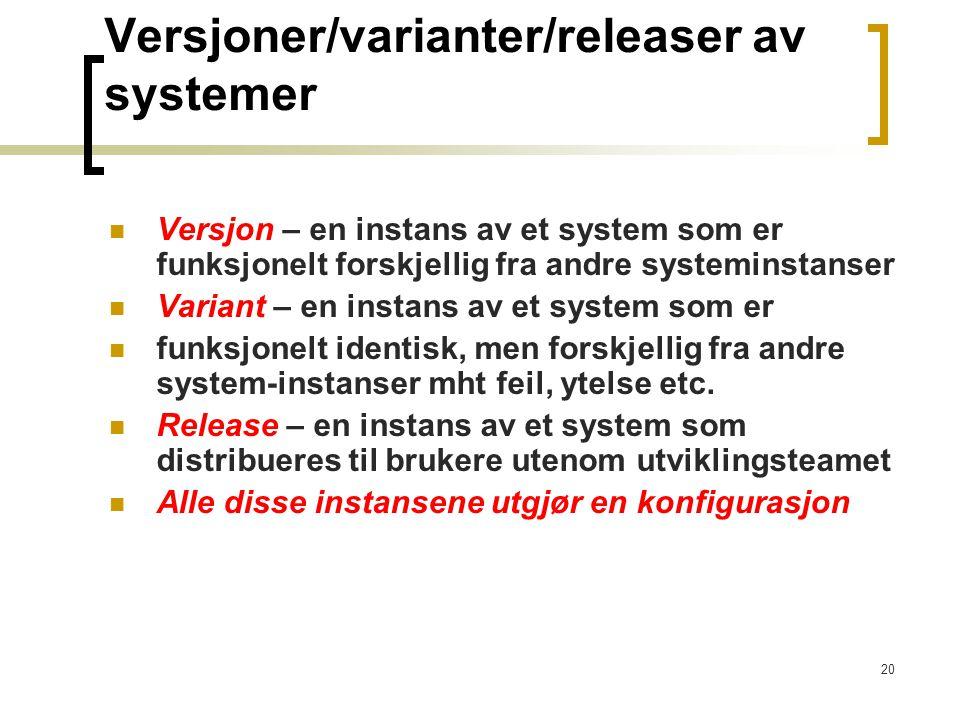 Versjoner/varianter/releaser av systemer