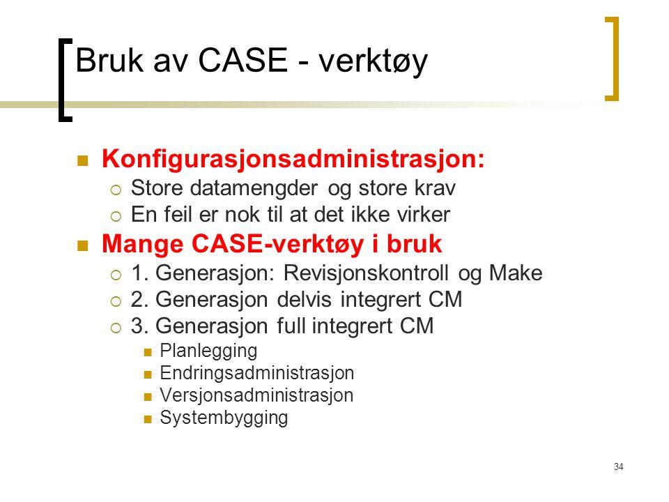 Bruk av CASE - verktøy Konfigurasjonsadministrasjon: