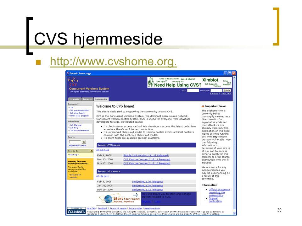 CVS hjemmeside http://www.cvshome.org.