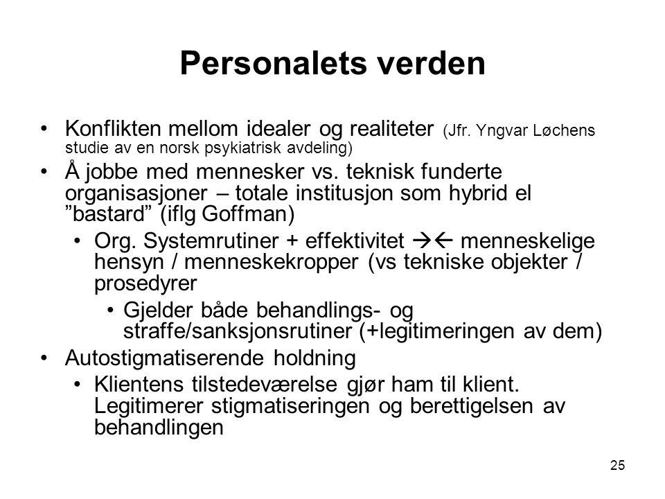 Personalets verden Konflikten mellom idealer og realiteter (Jfr. Yngvar Løchens studie av en norsk psykiatrisk avdeling)