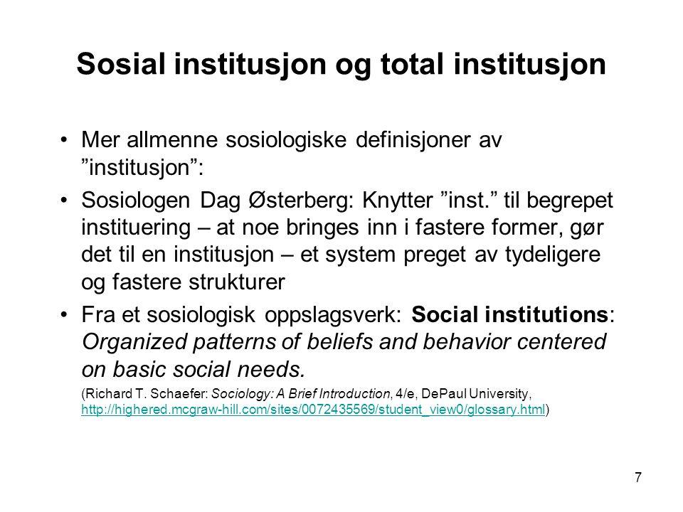 Sosial institusjon og total institusjon