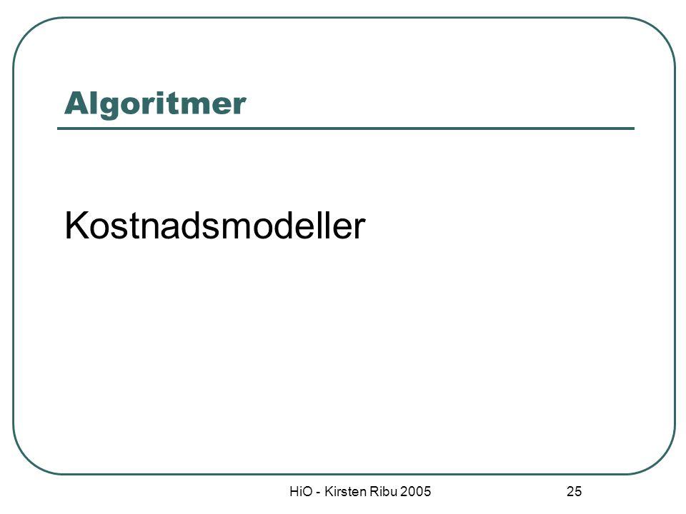 Algoritmer Kostnadsmodeller HiO - Kirsten Ribu 2005