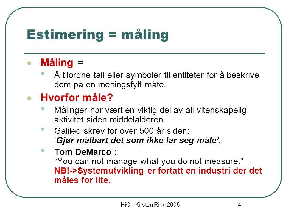 Estimering = måling Måling = Hvorfor måle