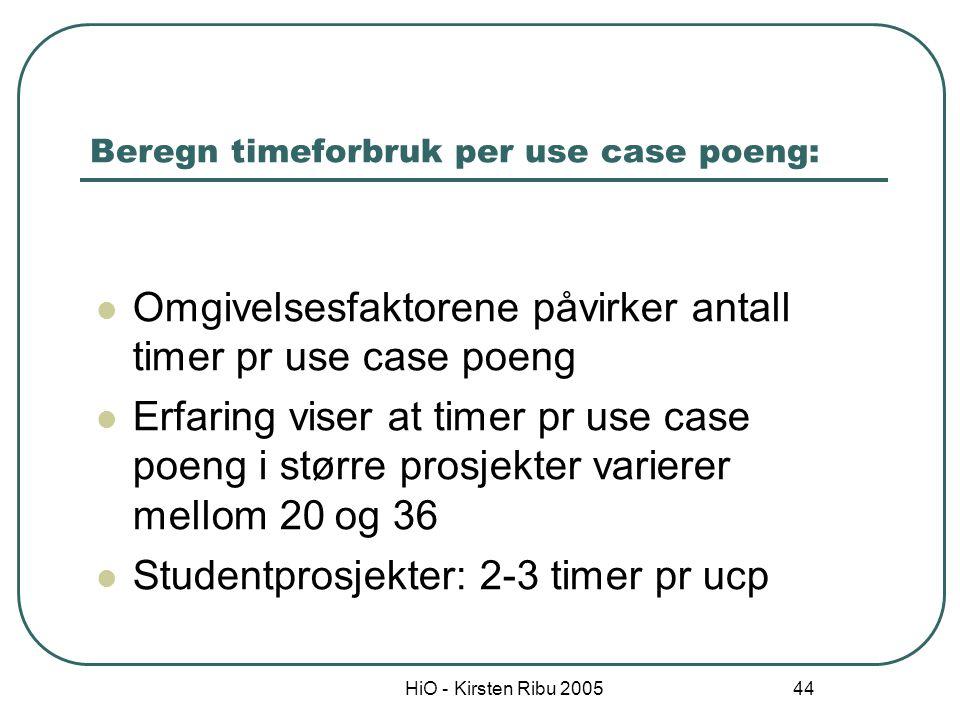 Beregn timeforbruk per use case poeng: