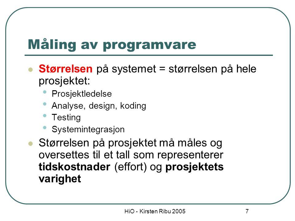 Måling av programvare Størrelsen på systemet = størrelsen på hele prosjektet: Prosjektledelse. Analyse, design, koding.