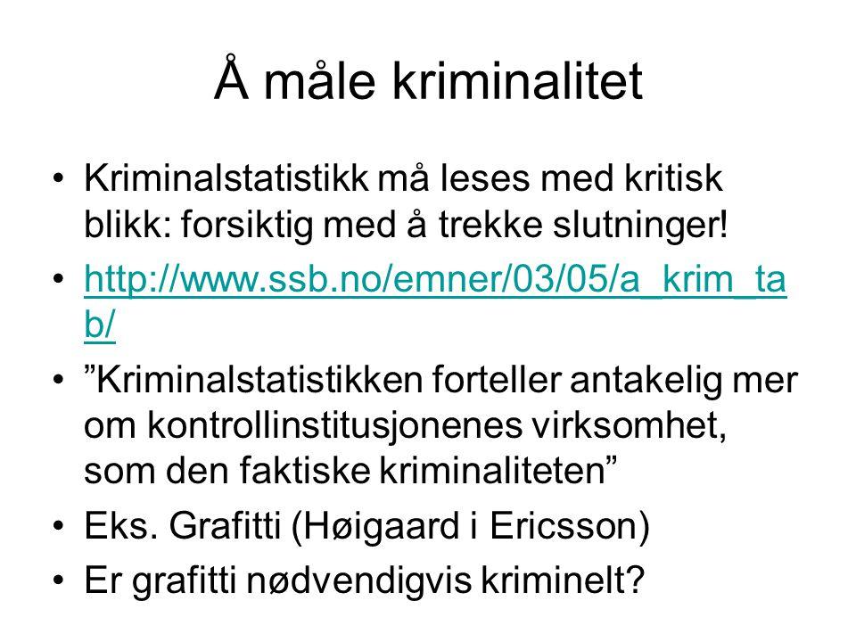 Å måle kriminalitet Kriminalstatistikk må leses med kritisk blikk: forsiktig med å trekke slutninger!