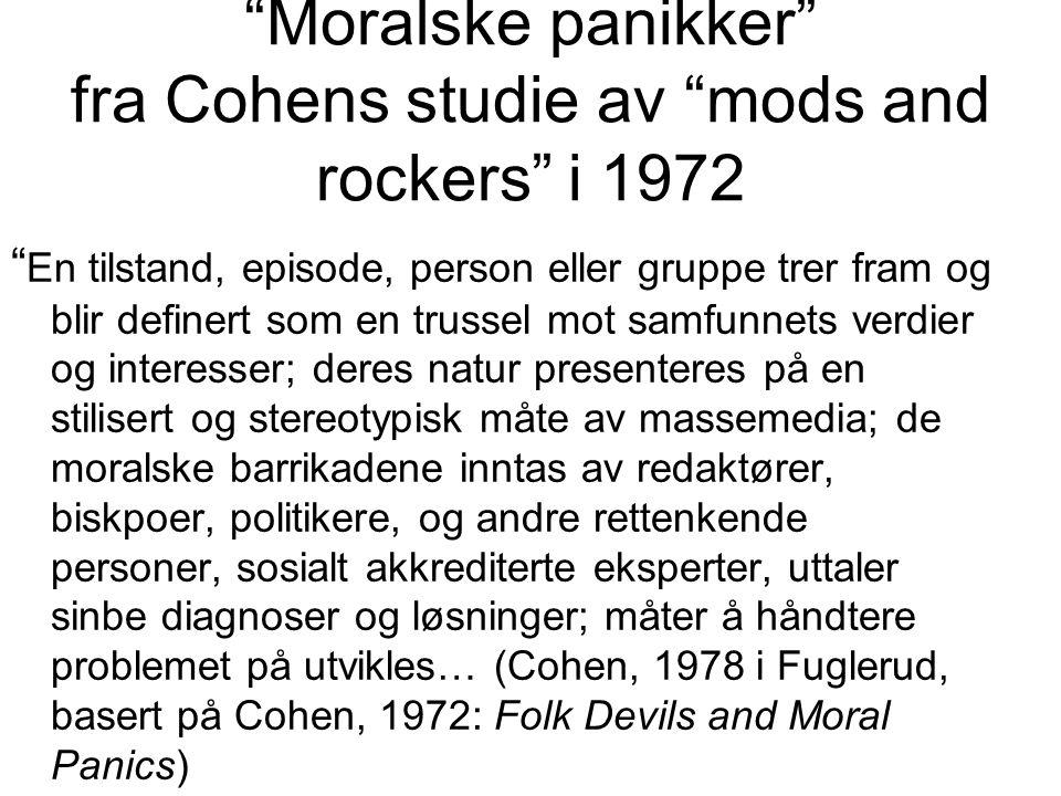 Moralske panikker fra Cohens studie av mods and rockers i 1972