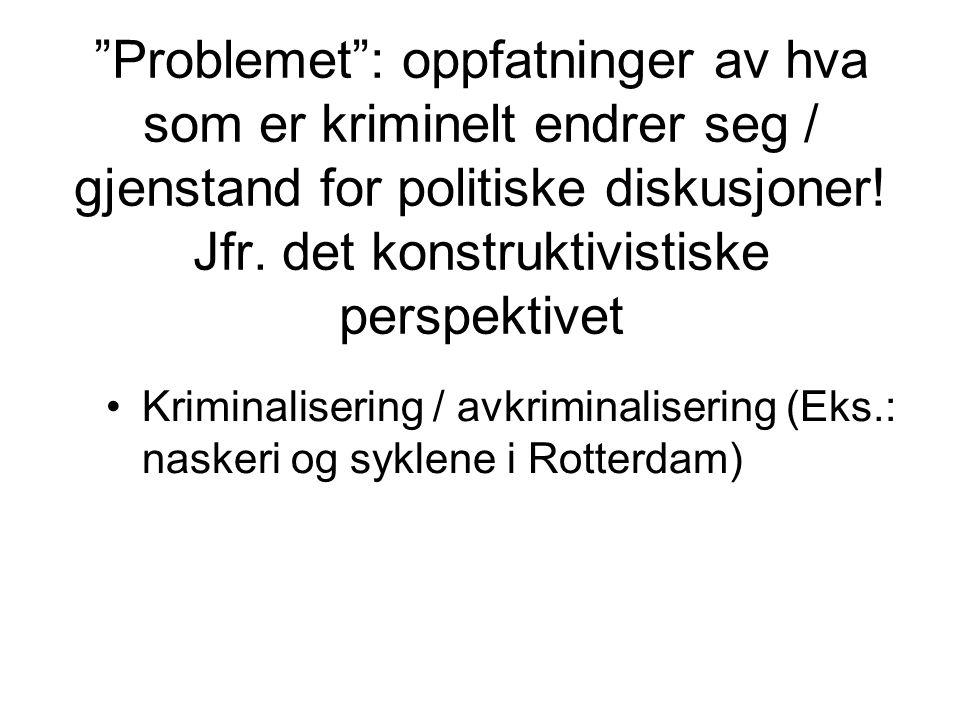 Problemet : oppfatninger av hva som er kriminelt endrer seg / gjenstand for politiske diskusjoner! Jfr. det konstruktivistiske perspektivet