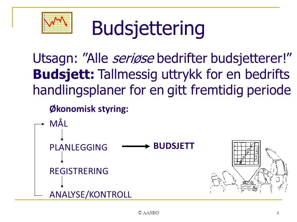 Budsjettering Utsagn: Alle seriøse bedrifter budsjetterer!