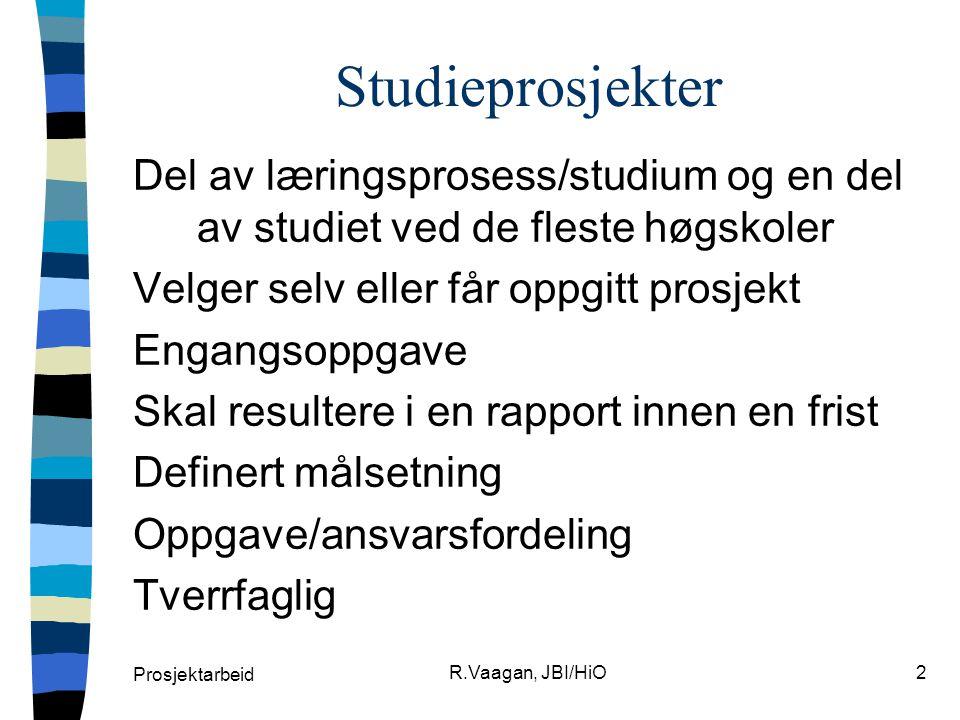 Studieprosjekter Del av læringsprosess/studium og en del av studiet ved de fleste høgskoler. Velger selv eller får oppgitt prosjekt.