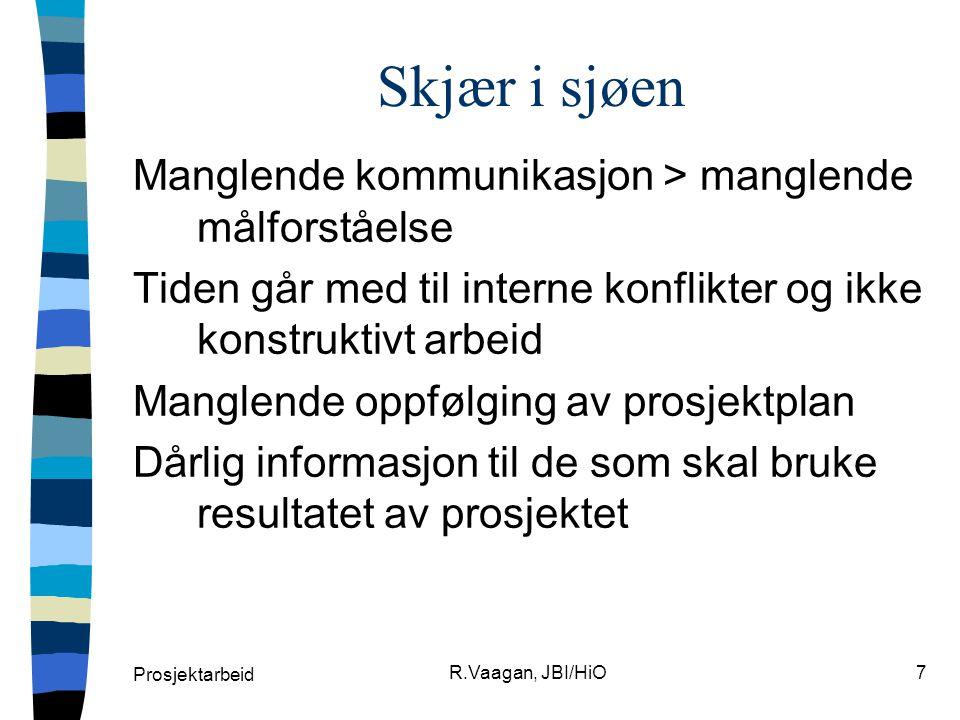 Skjær i sjøen Manglende kommunikasjon > manglende målforståelse