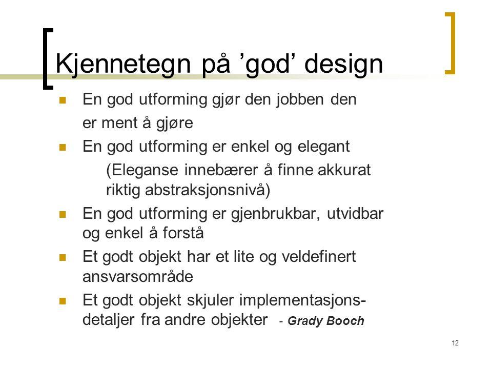 Kjennetegn på 'god' design
