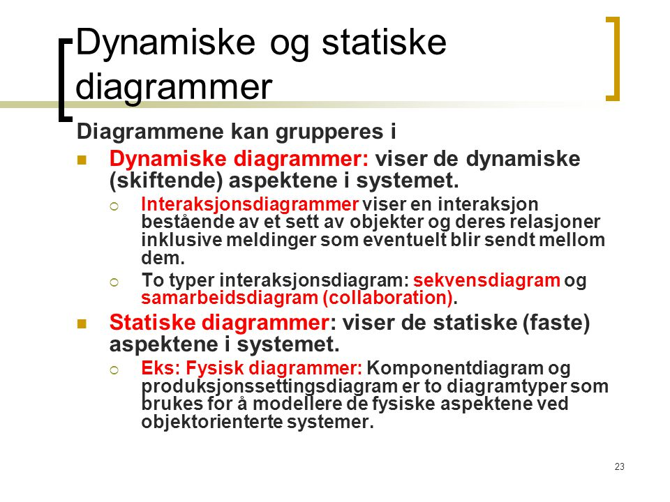 Dynamiske og statiske diagrammer