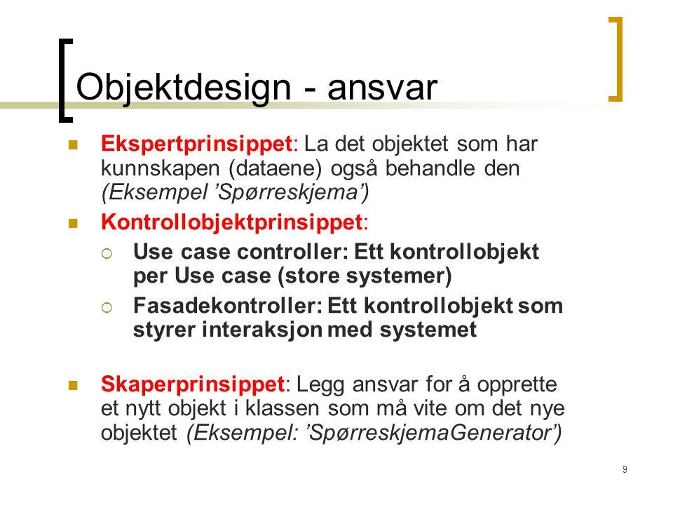Objektdesign - ansvar Ekspertprinsippet: La det objektet som har kunnskapen (dataene) også behandle den (Eksempel 'Spørreskjema')