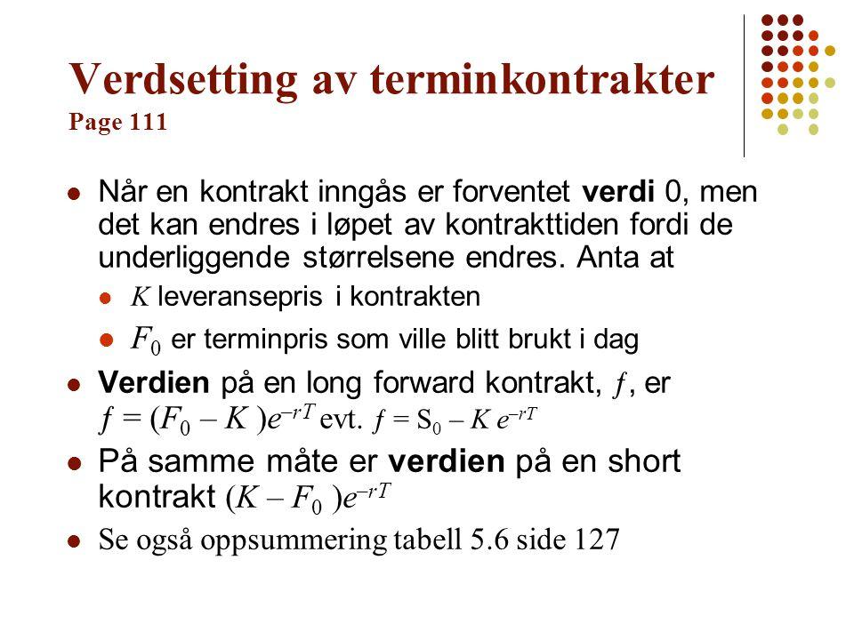 Verdsetting av terminkontrakter Page 111
