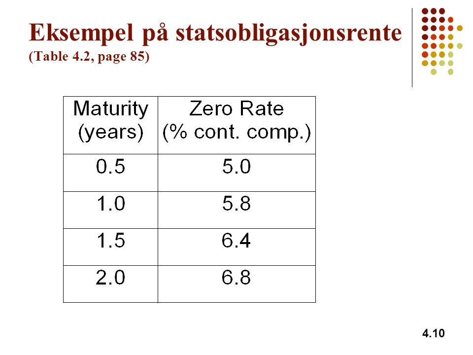 Eksempel på statsobligasjonsrente (Table 4.2, page 85)