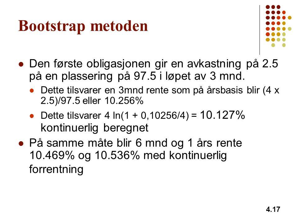 Bootstrap metoden Den første obligasjonen gir en avkastning på 2.5 på en plassering på 97.5 i løpet av 3 mnd.