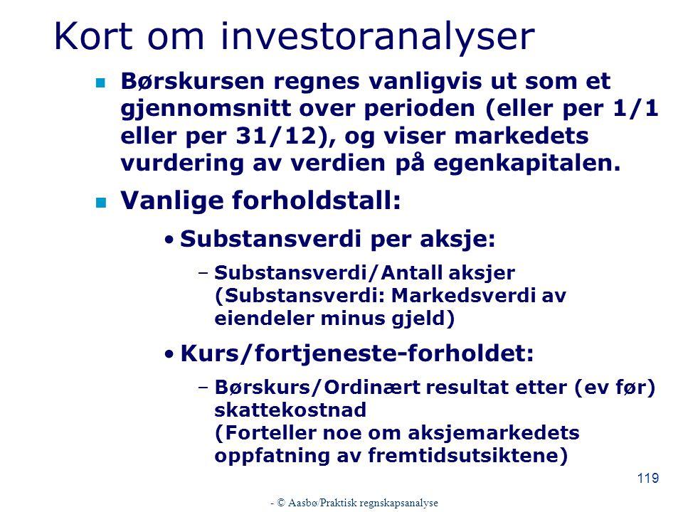 Kort om investoranalyser